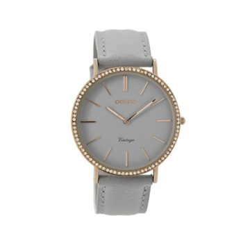 OOZOO Vintage Grey Leather Strap Women's Watch C8885