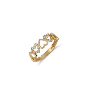 Δαχτυλίδι Καρδιές Χρυσό Με Ζιργκόν 002533