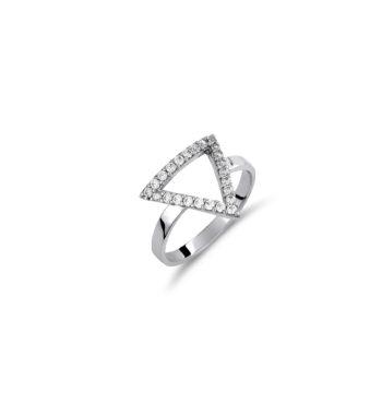 Δαχτυλίδι Μοντέρνο Τρίγωνο Λευκόχρυσο Με Ζιργκόν 002453