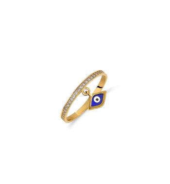 Δαχτυλίδι Ολόβερο Χρυσό Με Ματάκι Και Ζιργκόν 002532