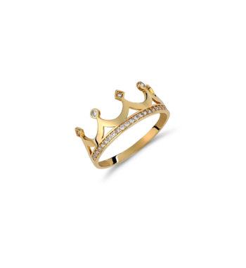 Δαχτυλίδι Στέμμα Σειρέ Χρυσό Με Ζιργκόν 002544