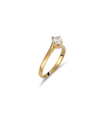 Μονόπετρο Δαχτυλίδι Χρυσό Με Ζιργκόν 002534