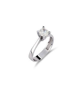 Μονόπετρο Δαχτυλίδι Λευκόχρυσο Με Ζιργκόν 002538
