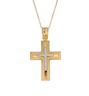 Πομπέ Σκαλιστός Σταυρός Χρυσός & Λευκόχρυσος Με Ζιργκόν 002586