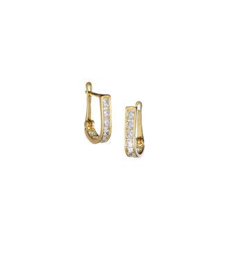 Σκουλαρίκι Κλασικό Καρφωτό Χρυσό Με Ζιργκόν 002560