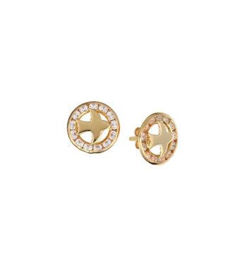 Σκουλαρίκι Περιστέρι Καρφωτό Χρυσό Με Ζιργκόν 002554