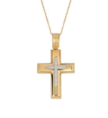 Σταυρός Χρυσός & Λευκόχρυσος Με Ζιργκόν 002593