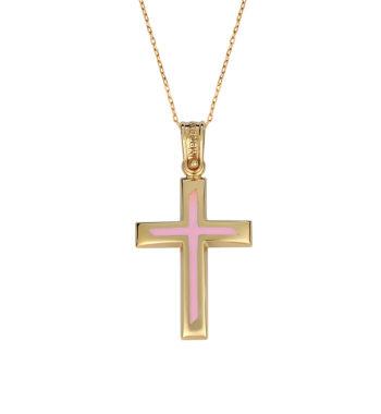 Σταυρός Χρυσός Με Ροζ Σμάλτο 002571