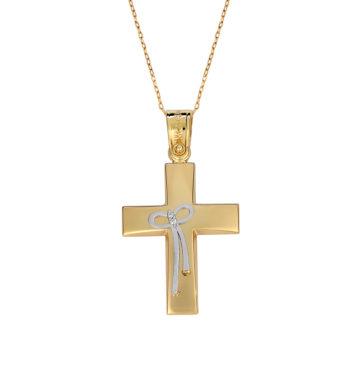 Σταυρός Κομποσχοίνι Πομπέ Ματ Χρυσός Και Λευκόχρυσος 002578