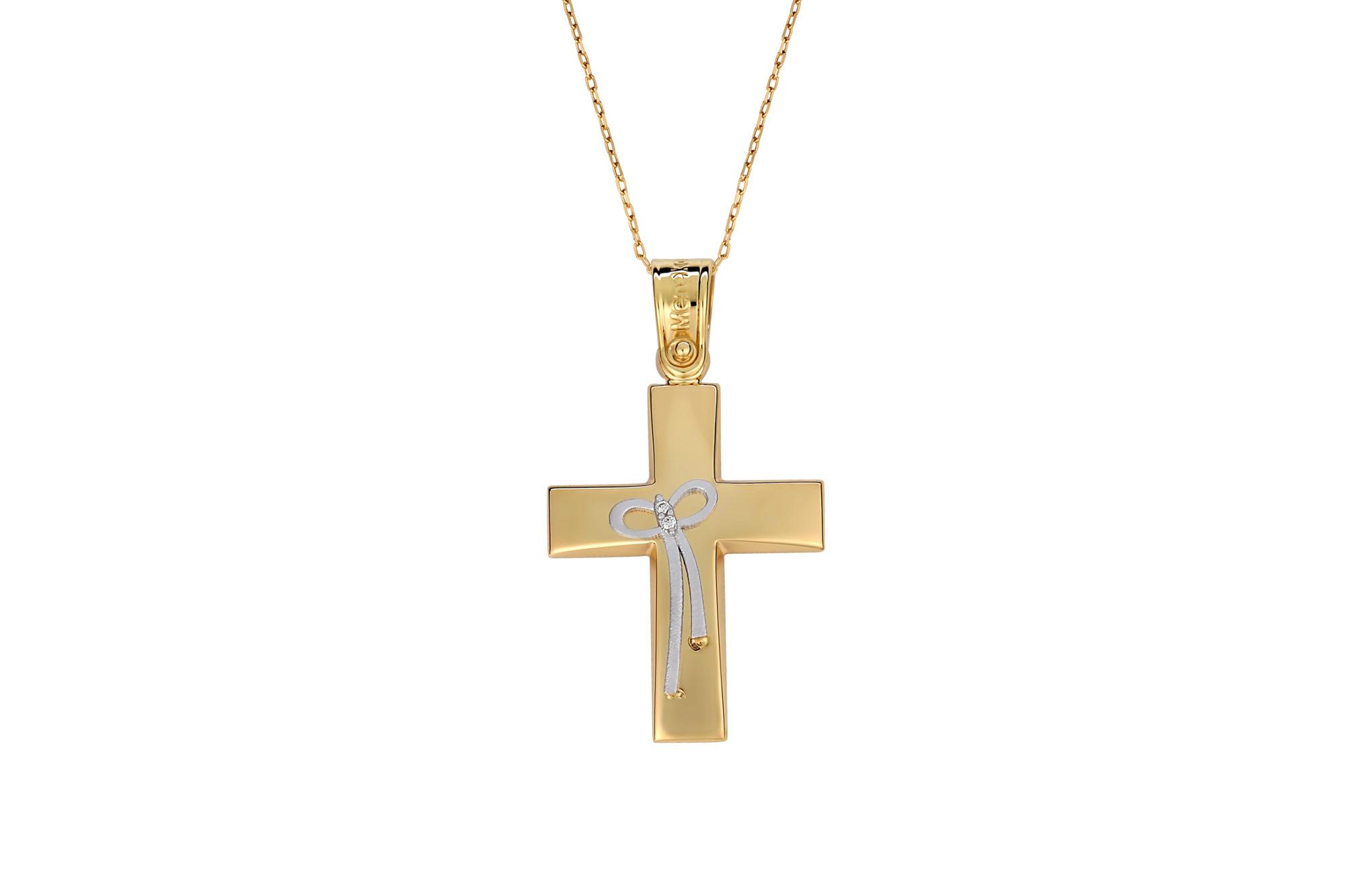 Σταυρός Κομποσχοίνι Πομπέ Ματ Χρυσός Και Λευκόχρυσος 002578 c15c1c74284