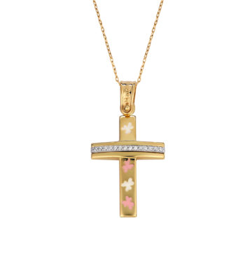 Σταυρός Λουλουδάκια Χρυσός & Λευκόχρυσος Με Ζιργκόν & Σμάλτο 002567