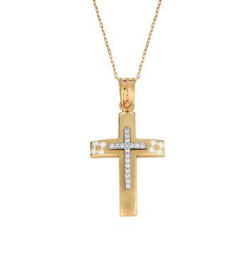 Σταυρός Λουλουδάκια Χρυσός & Λευκόχρυσος Με Ζιργκόν & Σμάλτο 002568