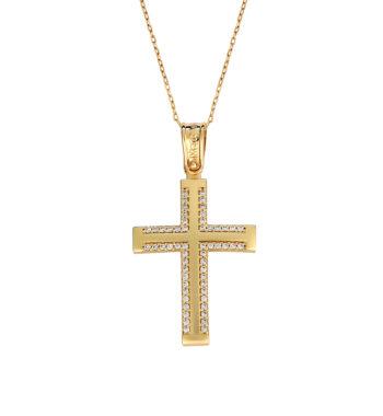 Σταυρός Ματ Χρυσός Με Ζιργκόν 002583