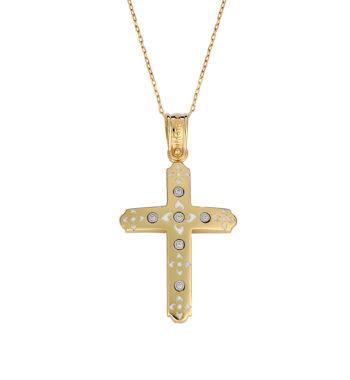 Σταυρός Μοντέρνος Ματ Χρυσός Με Ζιργκόν & Σμάλτο 002570