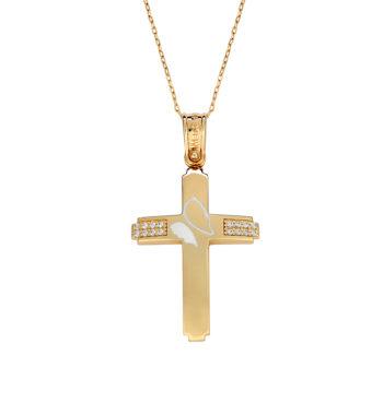 Σταυρός Πεταλούδα Ματ Χρυσός Με Ζιργκόν & Σμάλτο 002572