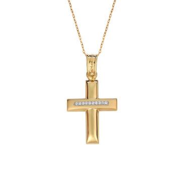 Σταυρός Πομπέ Χρυσός & Λευκόχρυσος Με Ζιργκόν 002584