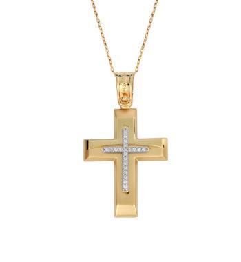 Σταυρός Πομπέ Σκαλιστός Χρυσός & Λευκόχρυσος Με Ζιργκόν 002590