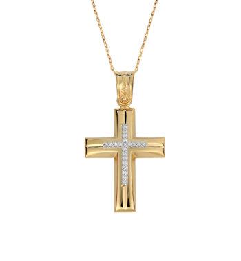 Σταυρός Πομπέ Σκαλιστός Χρυσός & Λευκόχρυσος Με Ζιργκόν 002591