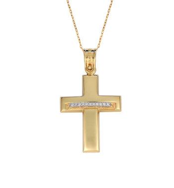 Σταυρός Σφυρήλατος Χρυσός & Λευκόχρυσος Με Ζιργκόν 002574