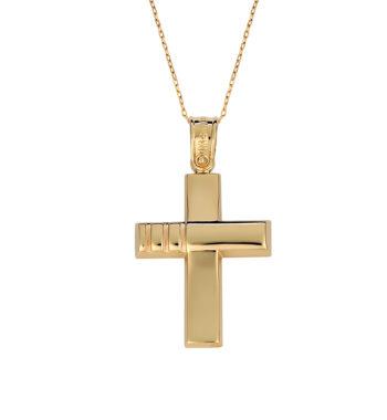 Σταυρός Σκαλιστός Χρυσός 002587