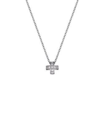 Σταυρός Τετράγωνος Λευκόχρυσος Με Ζιργκόν 002527