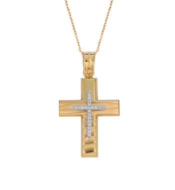 Σταυρός Ζαγρέ Χρυσός & Λευκόχρυσος Με Ζιργκόν 002588