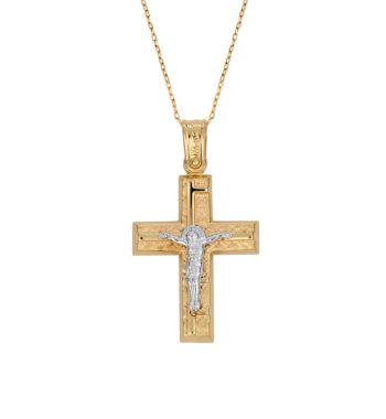 Σταυρός Ζαγρέ Σφυρήλατος Χρυσός Και Λευκόχρυσος Με Τον Εσταυρωμένο 002577