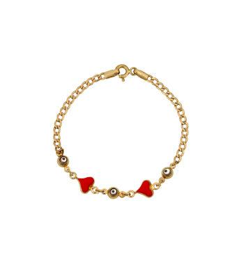 Βραχιολάκι Καρδούλες & Ματάκι Χρυσό Με Σμάλτο 002597
