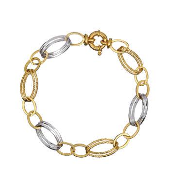 Βραχιόλι Αλυσίδα Κίτρινος Και Λευκός Χρυσός Ματ Γυαλιστερό 002547