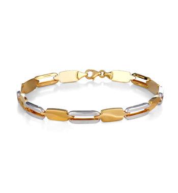 Βραχιόλι Αλυσίδα Κίτρινος Και Λευκός Χρυσός Ματ Γυαλιστερό 002548