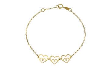 Βραχιόλι Καρδιές Χρυσό Με Ζιργκόν 002550