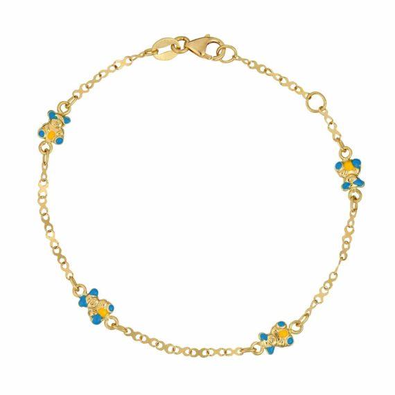 Βραχιόλι Αλυσίδα Αρκουδάκια Χρυσό Με Σμάλτο 002610