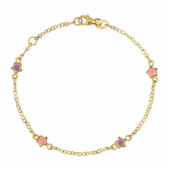 Βραχιόλι Αλυσίδα Αστεράκια Χρυσό Με Σμάλτο 002612