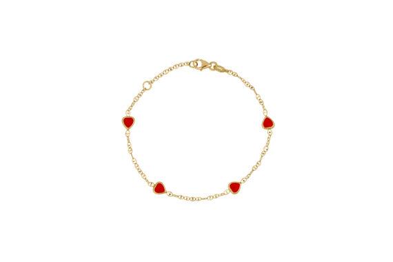 Βραχιόλι Αλυσίδα Καρδούλες Χρυσό Με Σμάλτο 002609