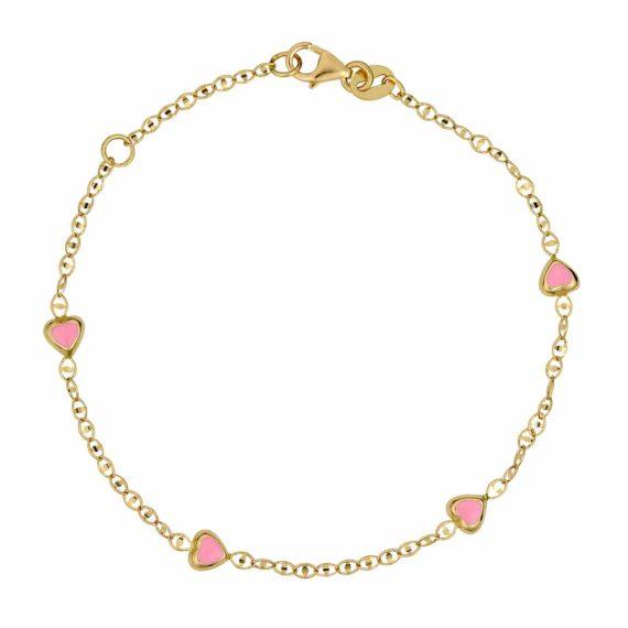Βραχιόλι Αλυσίδα Καρδούλες Χρυσό Με Σμάλτο 002611