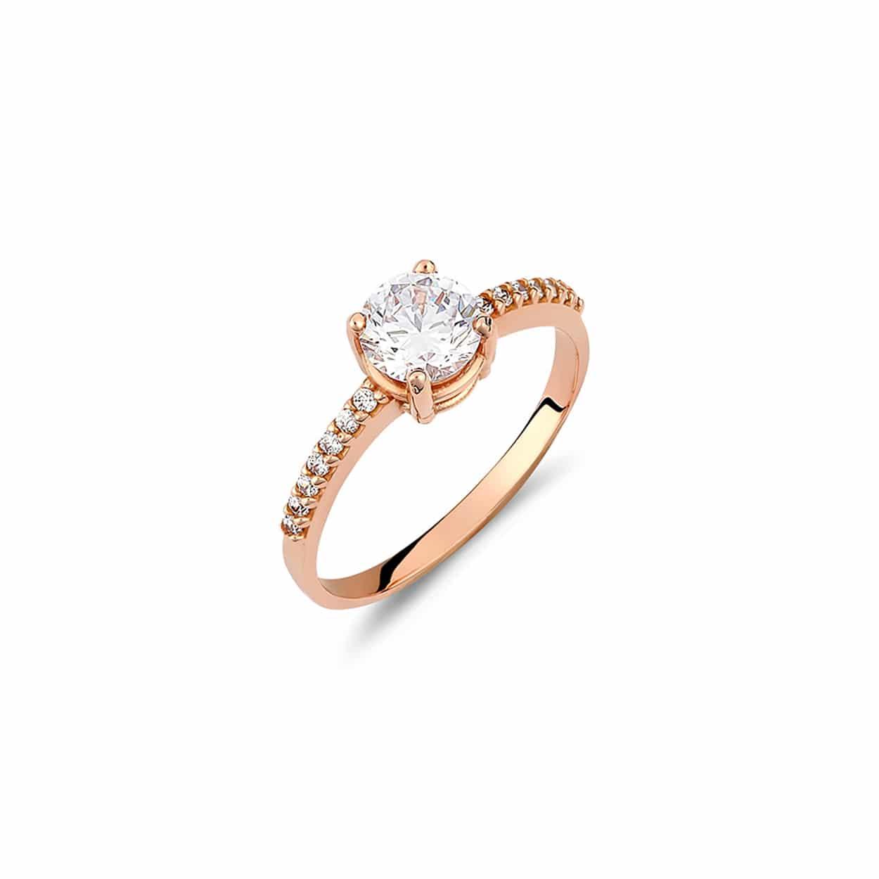 Μοντέρνο Μονόπετρο Δαχτυλίδι Ροζ Χρυσό Με Ζιργκόν – Jewelor f0b59a90f6e