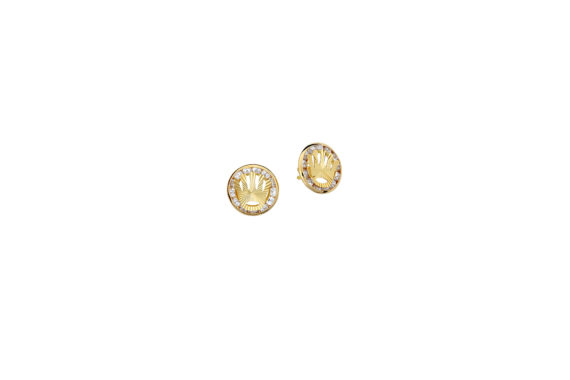 Σκουλαρίκι Κορώνα Χρυσό Με Ζιργκόν 002691
