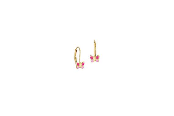 Σκουλαρίκι Πεταλούδα Χρυσό Με Σμάλτο 002690