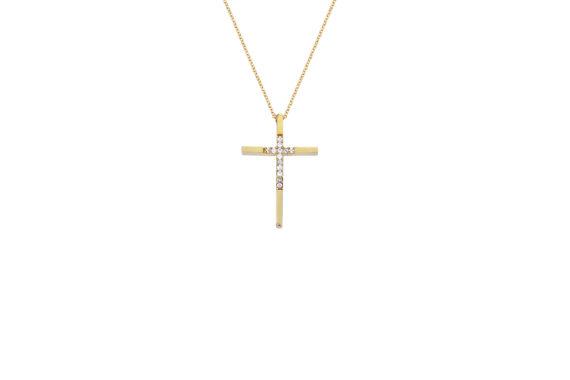 Σταυρός Λεπτός Χρυσός Με Ζιργκόν 002689