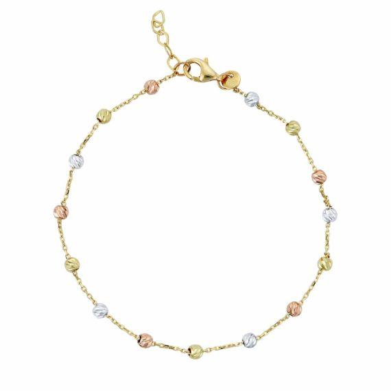Βραχιόλι Αλυσίδα Τρίχρωμο Χρυσό 002675