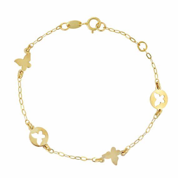 Βραχιόλι Πεταλούδες Χρυσό Διάτρητο 002680