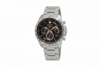 Seiko Silver Brown Chronograph Men's Watch SSB307P1