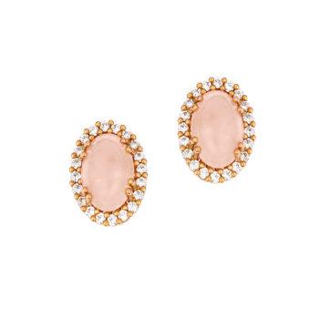 Σκουλαρίκια Καρφωτά Ροζ Χρυσός Και Ροζ Χαλαζίας 002855