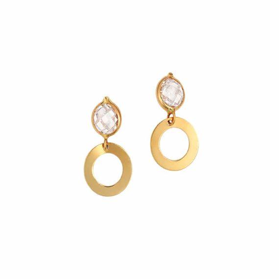 Σκουλαρίκια Κρεμαστά Χρυσός Με Ζιργκόν 002847