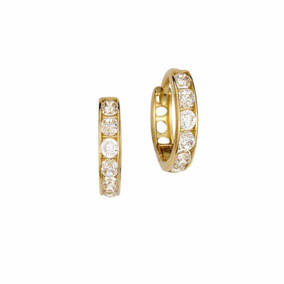 Σκουλαρίκια Κρεμαστά Χρυσός Με Ζιργκόν 002848