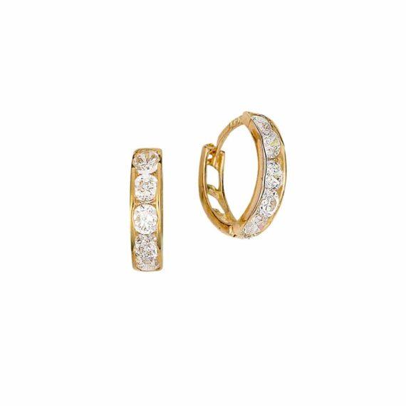 Σκουλαρίκια Κρεμαστά Χρυσός Με Ζιργκόν 002849