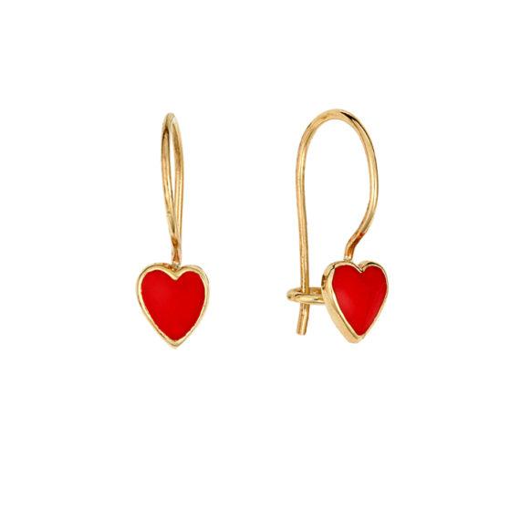 Σκουλαρίκια Κρεμαστά Καρδιά Χρυσός Με Σμάλτο 002850