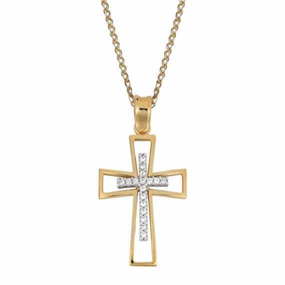Σταυρός Χρυσός Και Λευκόχρυσος Με Ζιργκόν 002842