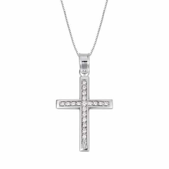 Σταυρός Λευκόχρυσος Με Ζιργκόν 002836