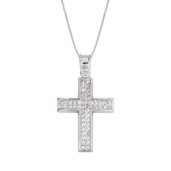 Σταυρός Λευκόχρυσος Με Ζιργκόν 002837